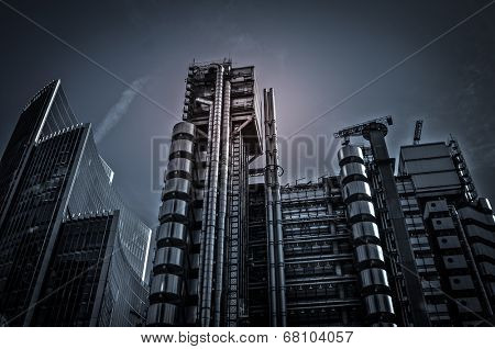 City of London finical area with dramatic modern styling and night sky lights cape