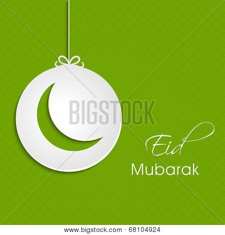 Stylish hanging green sticky with crescent moon shape on green background for muslim community festival Eid Mubarak festival.