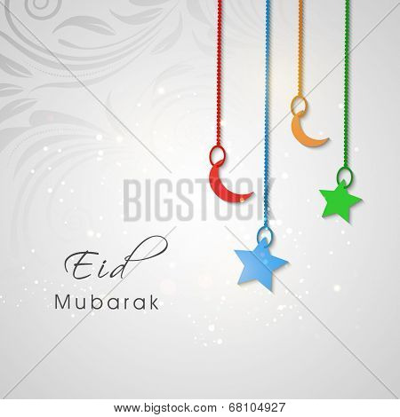 Beautiful Eid Mubarak greeting card design with hanging colourful moon and star on floral decorated grey background.