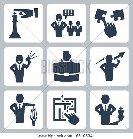 Manager And Boss Related Vector Icons Set