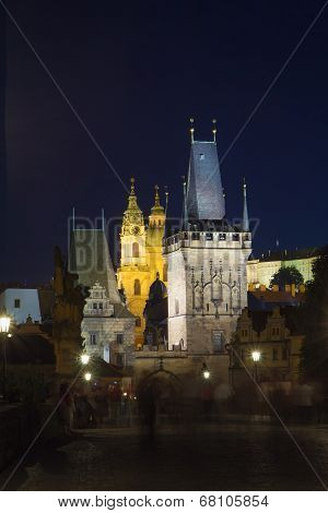Charles Bridge At Night (prague, Czech Republic)