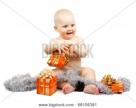 Joy child holds bright gift box