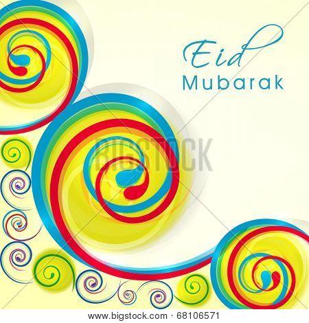 Colorful floral design decorated greeting card for Muslim community festival Eid Mubarak celebrations.