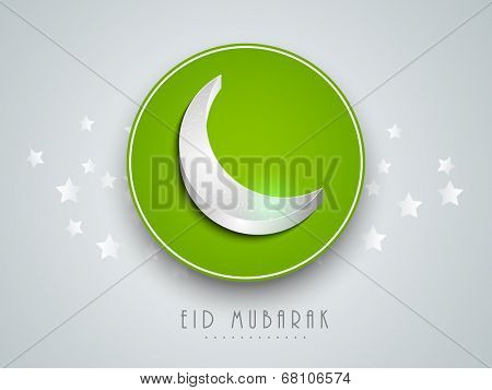 Beautiful green sticky with crescent moon on green background for muslim community festival Eid Mubarak celebrations.