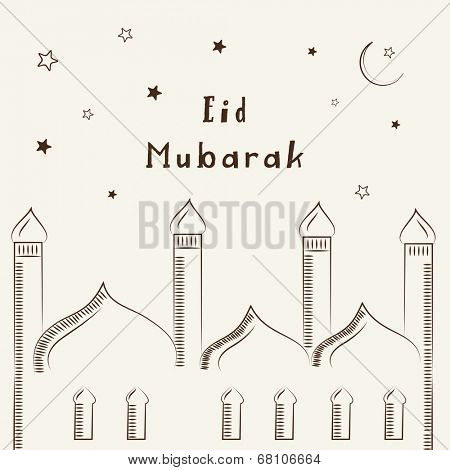 Stylish mosque design on stars decorated beige background for Muslim community festival Eid Mubarak celebrations.