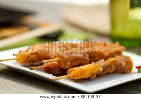 Satay Chicken On Skewers Al Fresco