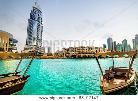 DUBAI, UAE - DECEMBER 15: Address Hotel in Dubai. The hotel is 63 stories high and feature 196 lavish rooms and 626 serviced residences, 15 december 2013 in Dubai.