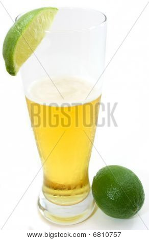 Refreshing beer with lime, and full lime