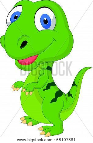 Cute cartoon green dinosaur