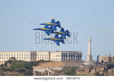 Blue Angels flying over Alcatraz