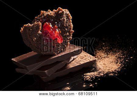 Chocolate Muffin Close Up.