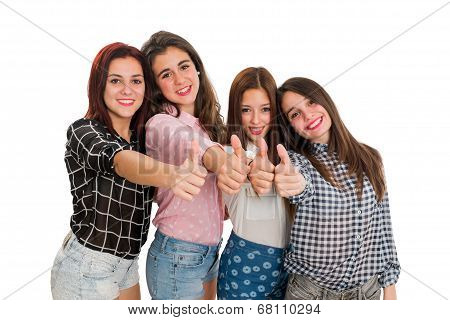 Teen Girls Doing Thumbs Up