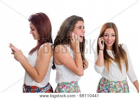 Threesome Teen Girls Talking On Smart Phones