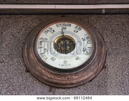 Russian Vintage Barometer On  Wall Urban Buildings