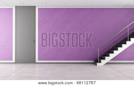 Staircase In A Empty Purple Lounge