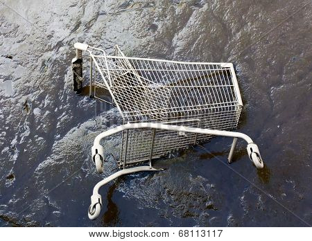 Shopping Trolley On River Bottom In The Mud