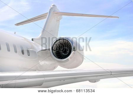 Jet Engine Closeup On A Private Airplane - Bombardier