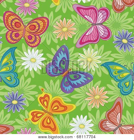 Seamless, flowers and butterflies