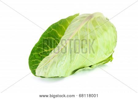 Raw Sweetheart Cabbage Isolated On A White Background