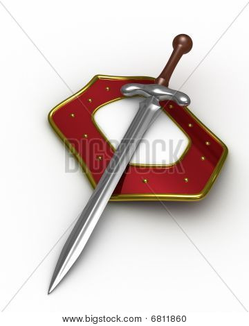 Sword And Shield On White Background. Isolated 3D Image