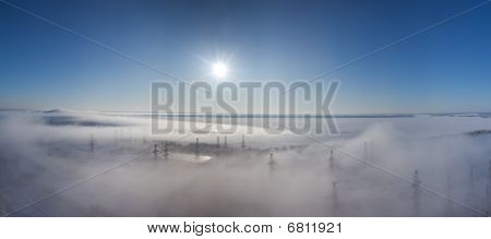 Winter Landscape. Fog Over Earth. Top View. Panorama