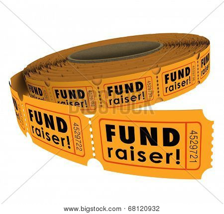 fund raiser words roll fifty fifty or 50 50 raffle tickets as a
