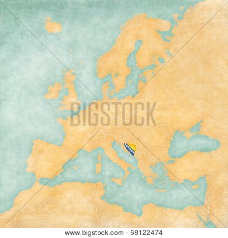 Map Of Europe - Bosnia And Herzegovina (vintage Series)