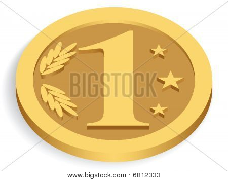 gold monetary unit isolated on white, vector illustration