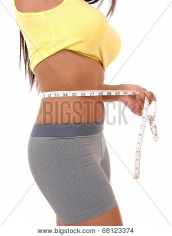 Teenager Girl Measuring Tummy.