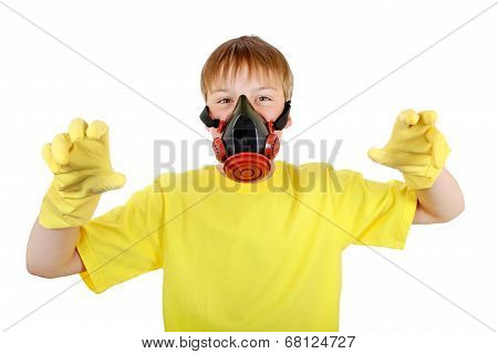 Kid In Gas Mask