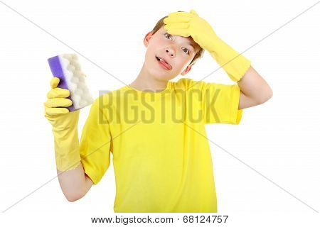 Kid With Bath Sponge