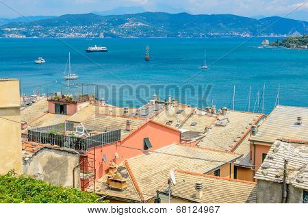 Traditional pictorial roofs of old italian villages. Portovenere.