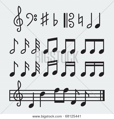 Vector Musical Notes Set