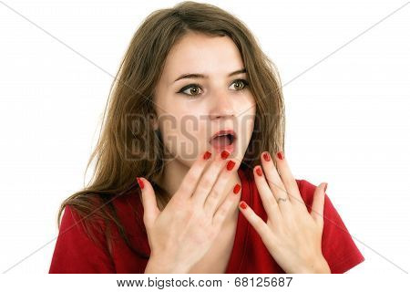 Shocked Girl Covers Her Mouth With Hands, Isolated On White