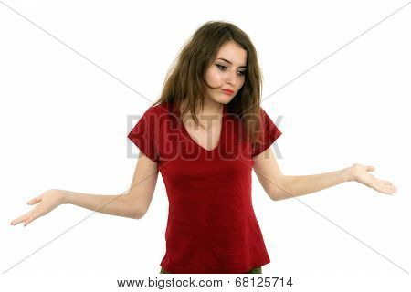 Caucasian Woman With Her Both Her Empty Palms Extended