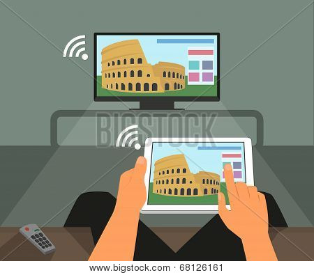 Multiscreen interaction. Man participates in TV show using smartphone and tablet pc
