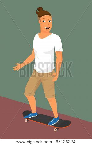 Hipster guy wearing small ponytail on skateboard
