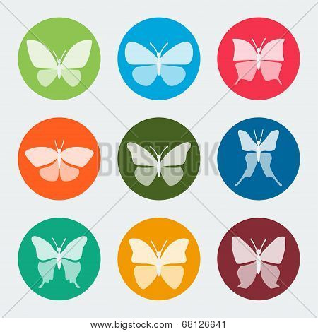 Vector Colorful Butterflies Icons Set