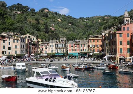 PORTOFINO, ITALY - MAY 04, 2014: Portofino is an Italian fishing village famous for its picturesque harbour and historical association with celebrity visitors, Portofino. Italy, on May 04, 2014.