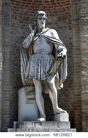 PARMA, ITALY - MAY 01,2014: Antonio da Correggio (1489-1534). italian painter. Statue by Agostino Ferrarini. Garibaldi Square. Parma, Emilia-Romagna. Italy, on May 01, 2014