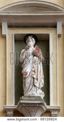 PORTOFERRAIO, ELBA, ITALY - MAY 03, 2014: St. Mark the Evangelist on the facade of the Church of Mercy in Portoferraio, Island of Elba, Tuscany, Italy on May 03, 2014