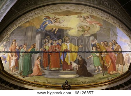 PORTOFINO, ITALY - MAY 04: Fresco in Church of St. Martin in Portofino in the province of Genoa, in the diocese of Chiavari. Portofino. Italy, on May 04, 2014