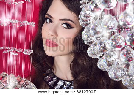 Beauty Glam Girl Portrait. Makeup. Sensual Lips. Brunette Woman Over Crystal Ball