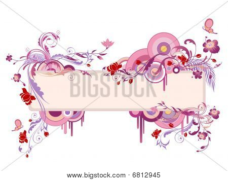 colored banner with floral ornament and butterfly