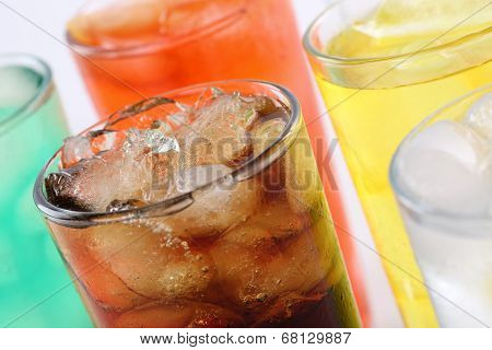 Colorful Soda Drinks With Cola