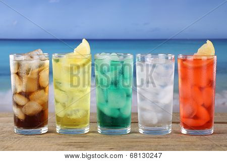 Cola And Lemonade Soda Drinks On The Beach