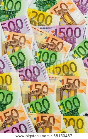 many different euro bills. symbolic photo for wealth and investment