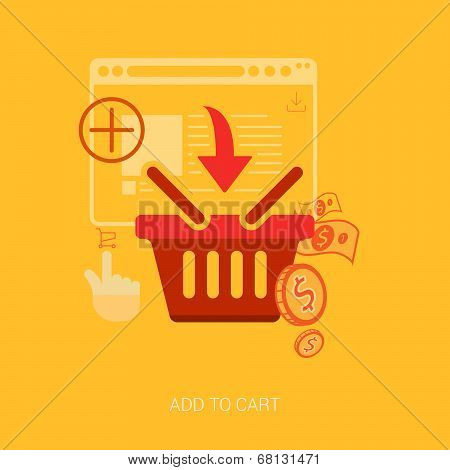 Flat design icons for online shopping. Add to basket, bag or cart e-commerce vector illustration con