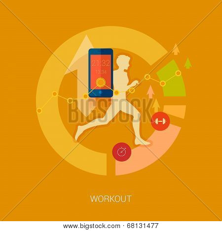 Running man vector illustration. Sporting person, workout, training and real time achievement analyt