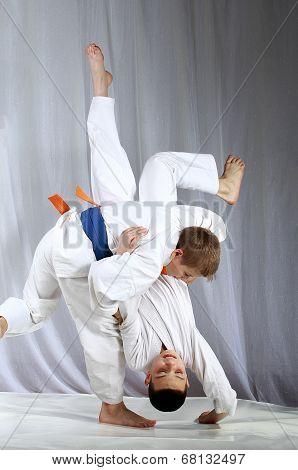 High throw techniques nage-waza are training athletes in judogi